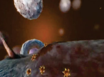 Image: Artist's rendition of circulating tumor cells and circulating tumor DNA (Photo courtesy of http://vyturelis.com).